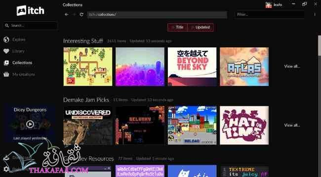 Itch Desktop Client برامج تنزيل الألعاب